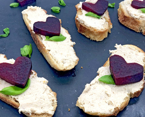 Roasted Beets, Cashews and Cream Cheese