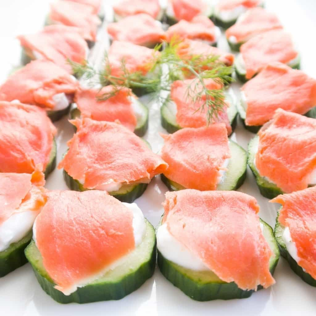 Smoked Salmon Cucumber Bites - Smoked Salmon Appetizers for your next wine tasting